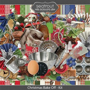 Christmas Bake Off Kit Digital Art - Digital Scrapbooking Kits