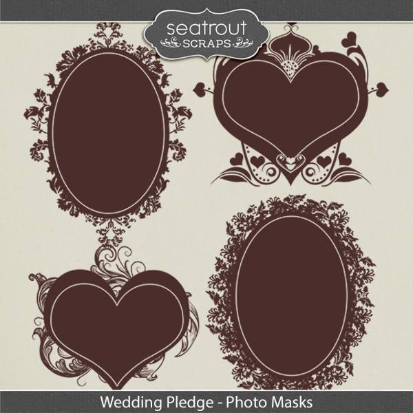 Wedding Pledge Photo Masks Digital Art - Digital Scrapbooking Kits