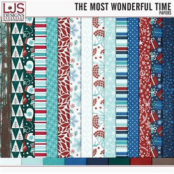 The Most Wonderful Time - Papers Digital Art - Digital Scrapbooking Kits