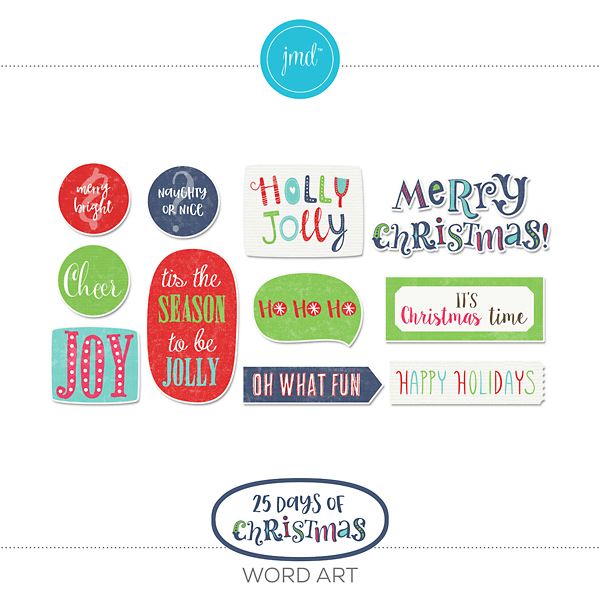 25 Days Of Christmas Word Art
