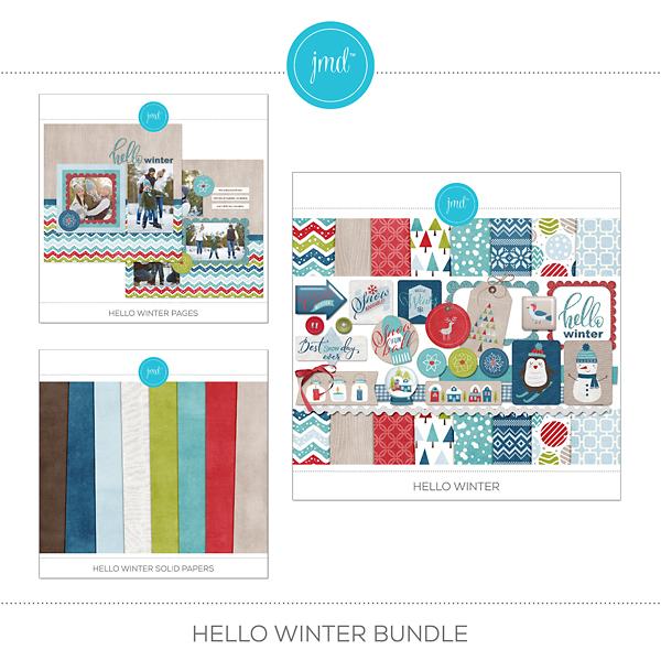 Hello Winter Bundle Digital Art - Digital Scrapbooking Kits