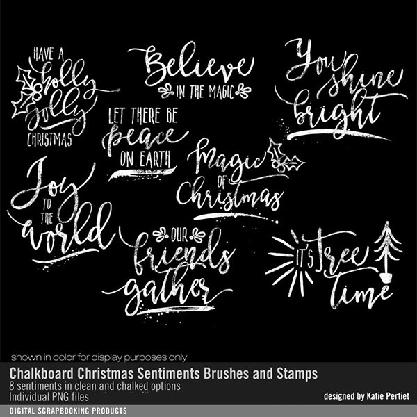 Chalkboard Christmas Sentiments Brushes And Stamps