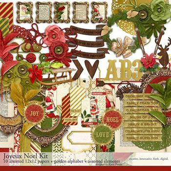 Alphabet Joyeux Noel.Joyeux Noel Scrapbooking Kit Digital Art