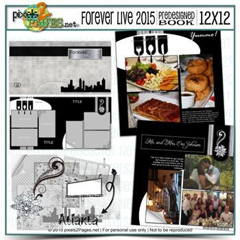 12x12 Foreverlive 2015 Predesigned Book & Embellishments