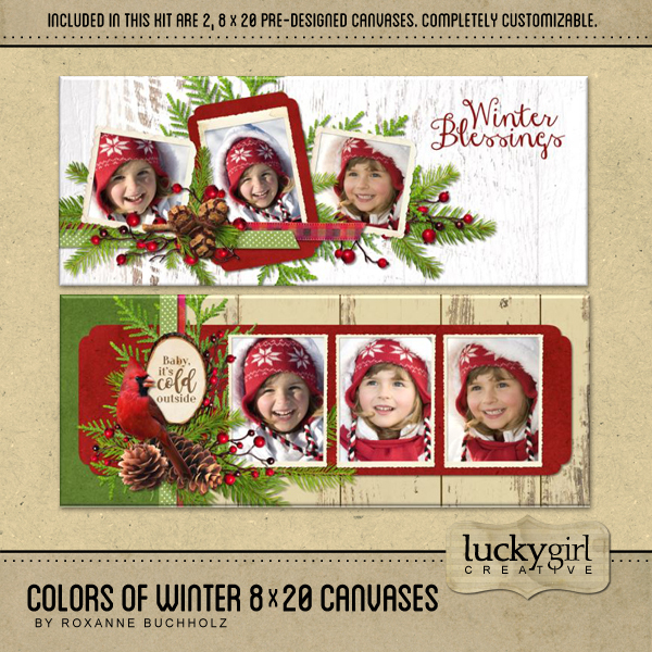 Colors Of Winter 8 X 20 Canvases Digital Art - Digital Scrapbooking Kits