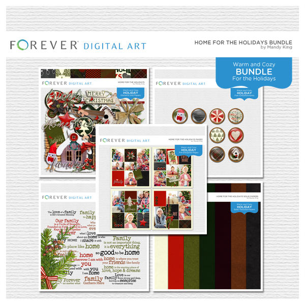 Home For The Holidays Bundle Digital Art - Digital Scrapbooking Kits