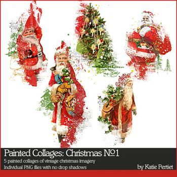 Christmas Imagery.Painted Collages Christmas No 01 Digital Art