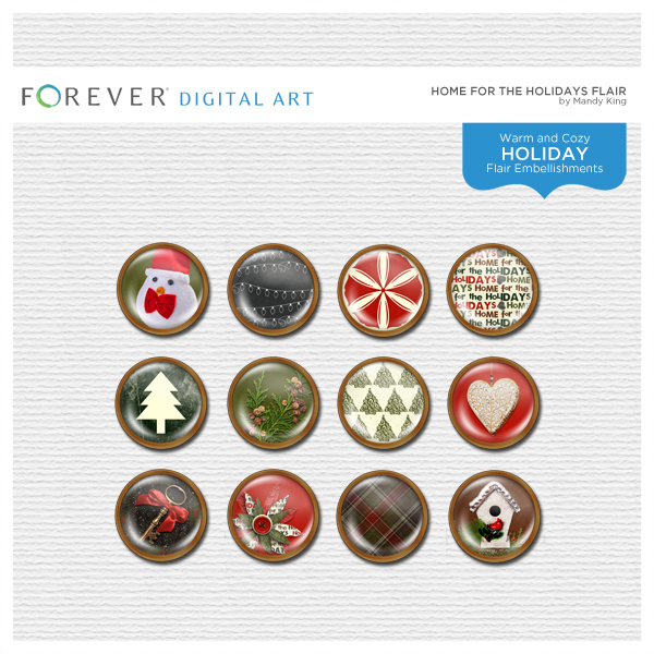Home For The Holidays Flair Digital Art - Digital Scrapbooking Kits