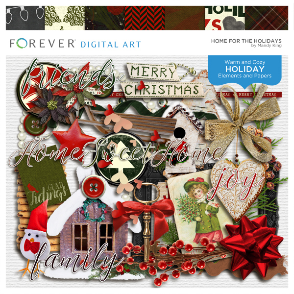 Home For The Holidays Digital Art - Digital Scrapbooking Kits