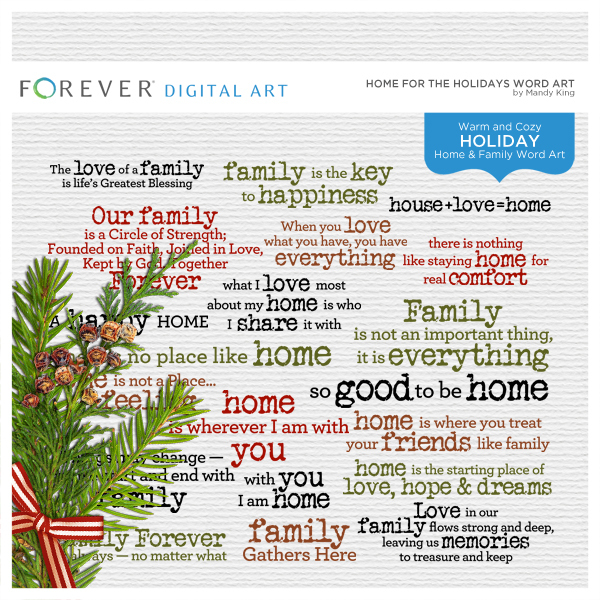 Home For The Holidays Word Art Digital Art - Digital Scrapbooking Kits