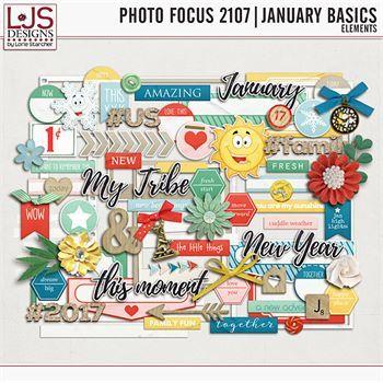 Photo Focus 2017 - January Basics Elements Digital Art - Digital Scrapbooking Kits