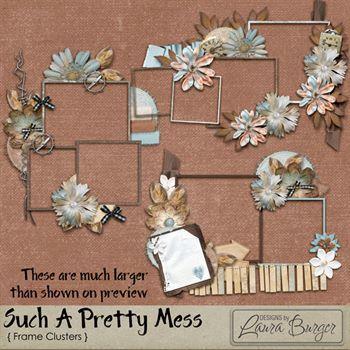 Such A Pretty Mess Clusters Frames Digital Art - Digital Scrapbooking Kits