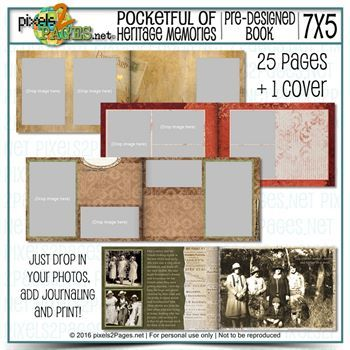 Pocketful Of Heritage Memories Digital Art - Digital Scrapbooking Kits