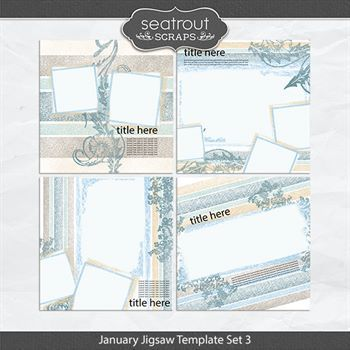 January Jigsaw Template Set 3