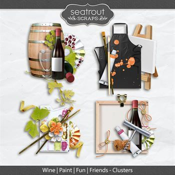 Wine Paint Fun Friends Clusters Digital Art - Digital Scrapbooking Kits