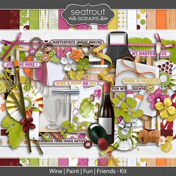Wine Paint Fun Friends Kit Digital Art - Digital Scrapbooking Kits