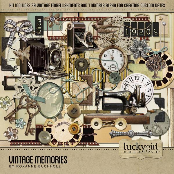 Vintage Memories Digital Art - Digital Scrapbooking Kits