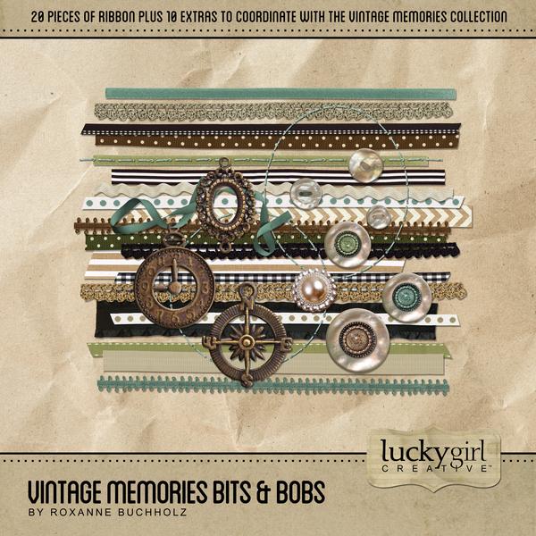 Vintage Memories Bits & Bobs Digital Art - Digital Scrapbooking Kits