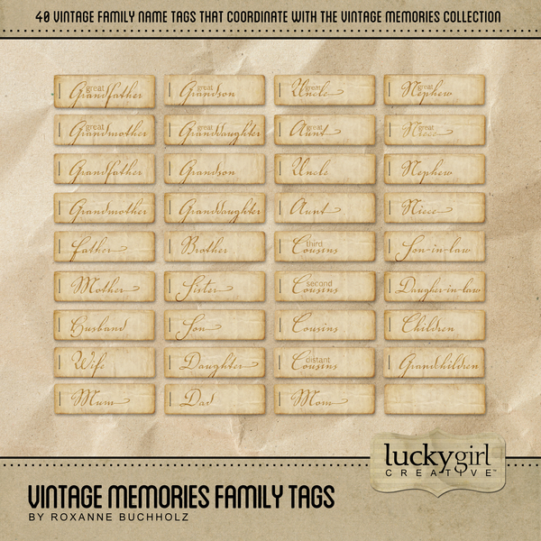Vintage Memories Family Tags Digital Art - Digital Scrapbooking Kits