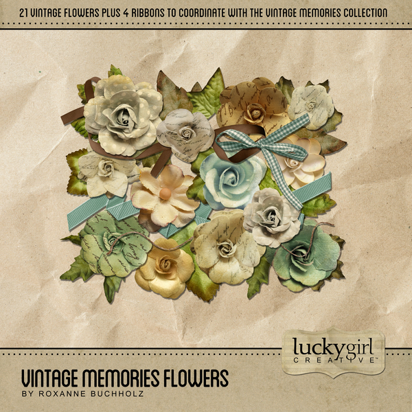 Vintage Memories Flowers Digital Art - Digital Scrapbooking Kits