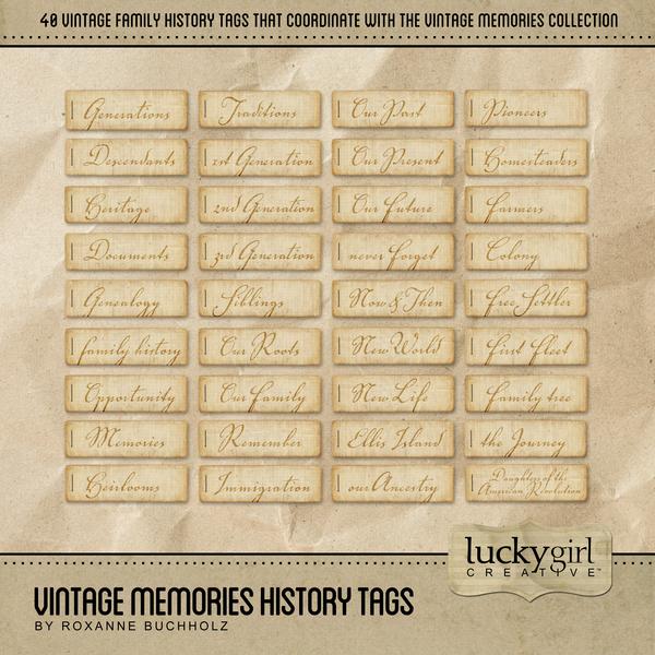 Vintage Memories History Tags Digital Art - Digital Scrapbooking Kits