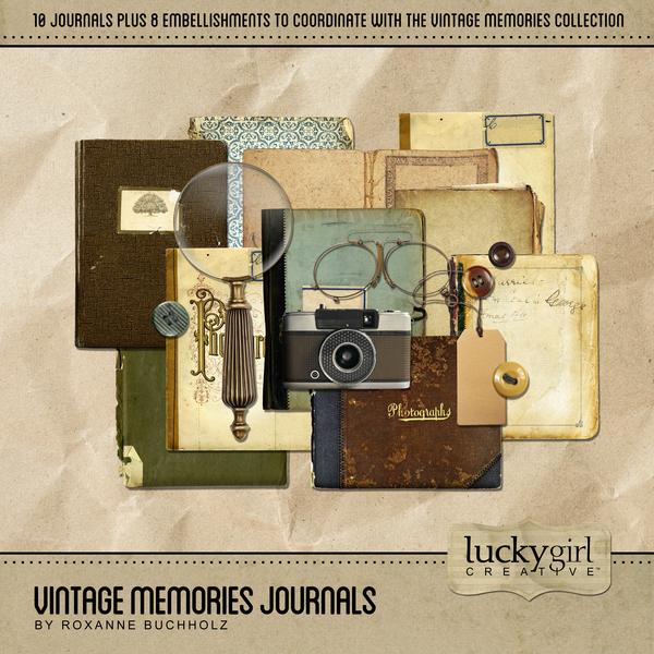 Vintage Memories Journals Digital Art - Digital Scrapbooking Kits