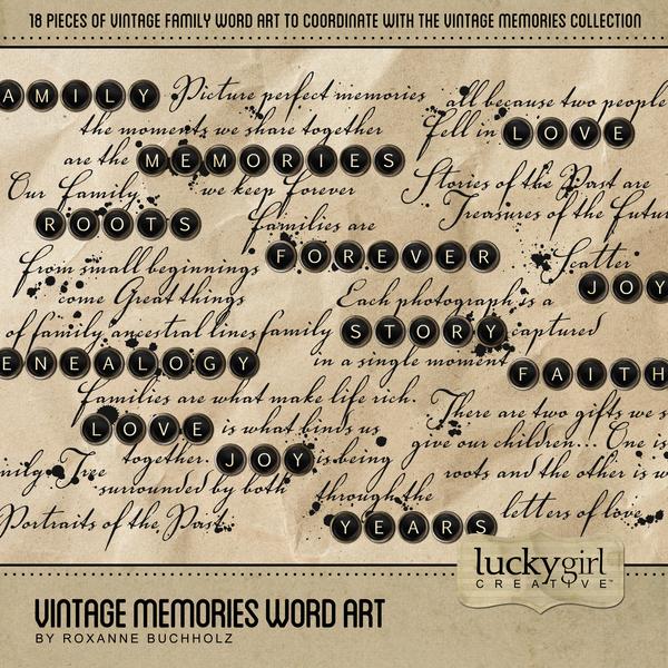 Vintage Memories Word Art Digital Art - Digital Scrapbooking Kits