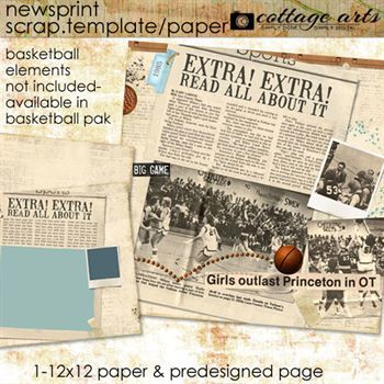 Newsprint Scrap Template And Paper