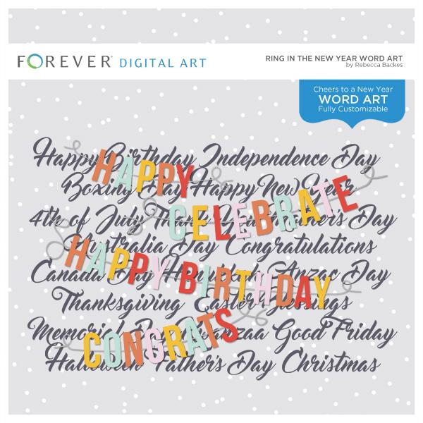 Ring In The New Year Word Art Digital Art - Digital Scrapbooking Kits