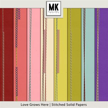 Love Grows Here - Stitched Solid Papers