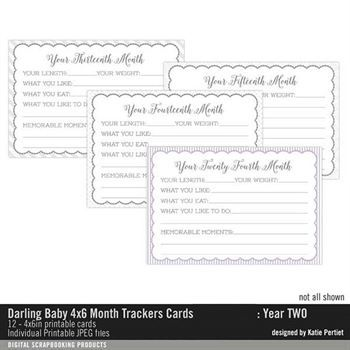 Darling Baby 4x6 Month Trackers Year Two Cards