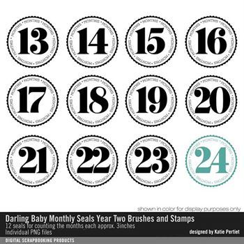 Darling Baby Month Seals Year Two Brushes And Stamps