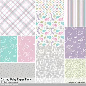 Darling Baby Paper Pack Digital Art - Digital Scrapbooking Kits
