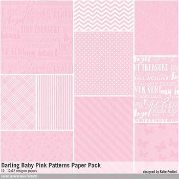 Darling Baby Pink Patterned Paper Pack Digital Art - Digital Scrapbooking Kits