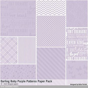 Darling Baby Purple Patterned Paper Pack