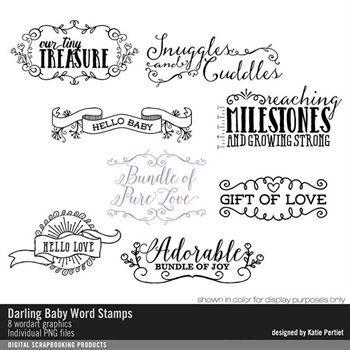 Darling Baby Word Brushes And Stamps Digital Art - Digital Scrapbooking Kits