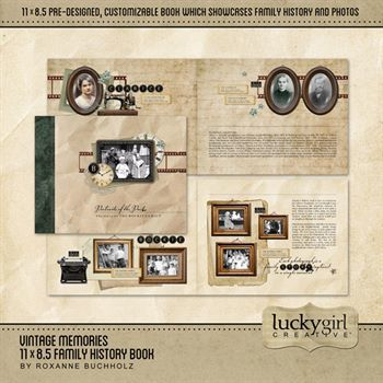 Vintage Memories 11 X 8.5 Family History Book Digital Art - Digital Scrapbooking Kits