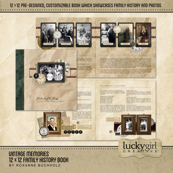 Vintage Memories 12 X 12 Family History Book Digital Art - Digital Scrapbooking Kits