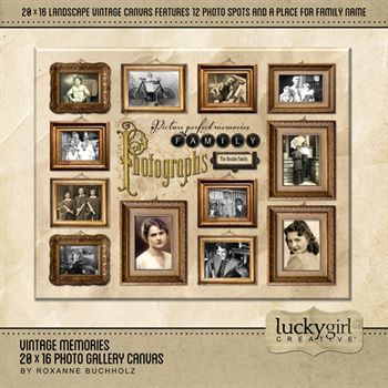 Vintage Memories 20 X 16 Photo Gallery Canvas Digital Art - Digital Scrapbooking Kits