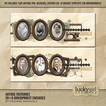 Vintage Memories 20 X 8 Grandparent Canvases Digital Art - Digital Scrapbooking Kits