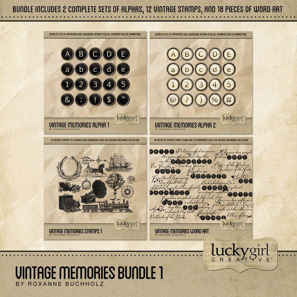 Vintage Memories Bundle 1 Digital Art - Digital Scrapbooking Kits
