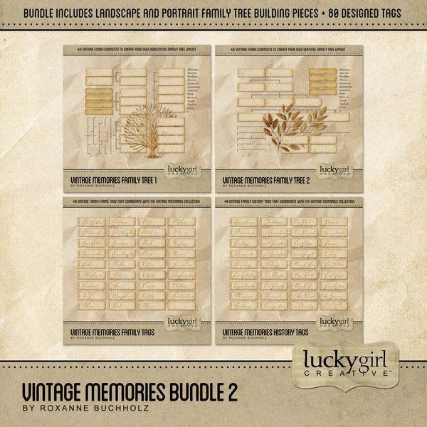 Vintage Memories Bundle 2 Digital Art - Digital Scrapbooking Kits