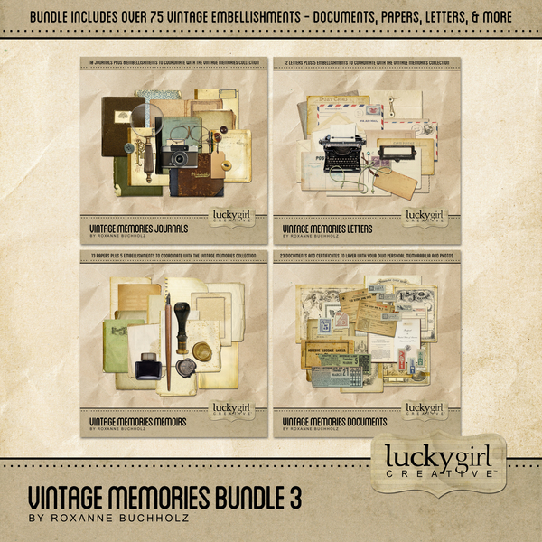 Vintage Memories Bundle 3 Digital Art - Digital Scrapbooking Kits