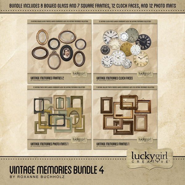 Vintage Memories Bundle 4 Digital Art - Digital Scrapbooking Kits