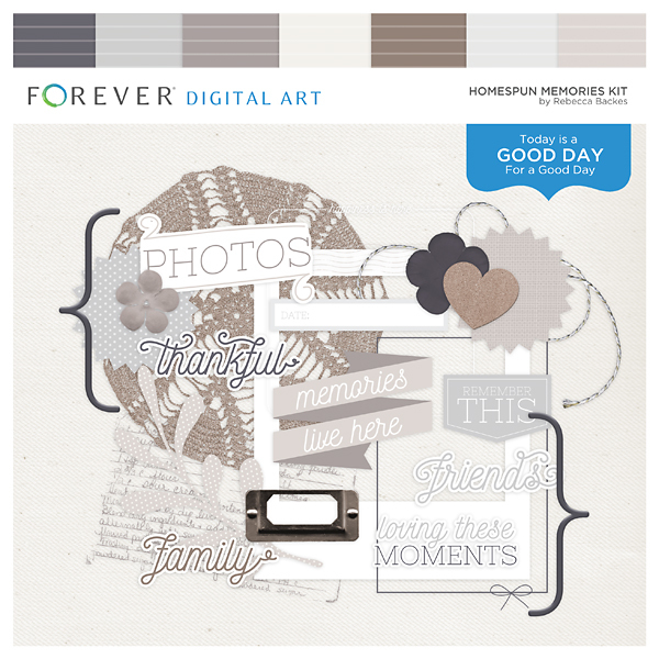 Homespun Memories Kit Digital Art - Digital Scrapbooking Kits