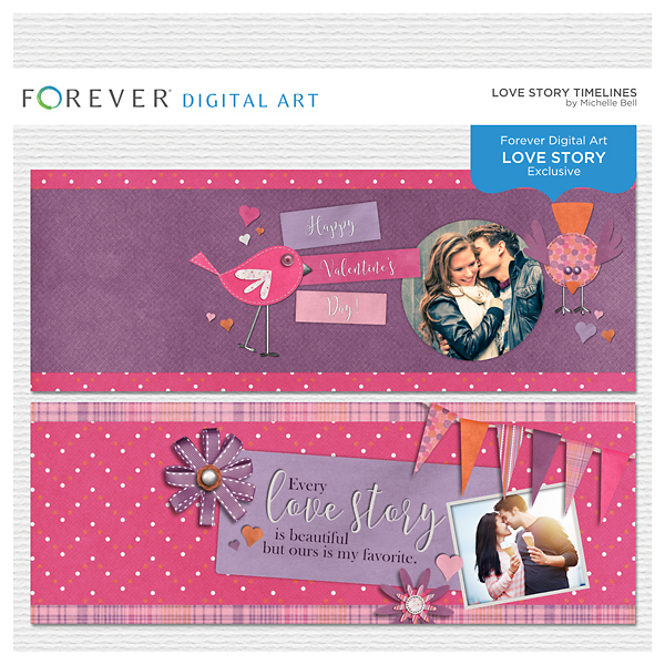 Love Story Timelines Digital Art - Digital Scrapbooking Kits