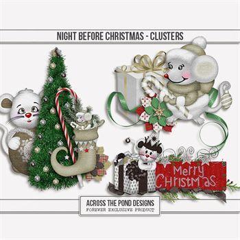 Night Before Christmas - Clusters Digital Art - Digital Scrapbooking Kits