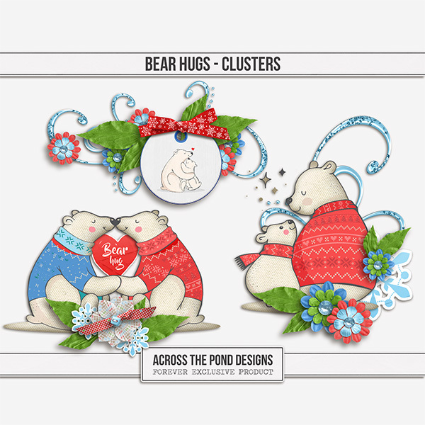 Bear Hugs - Clusters Digital Art - Digital Scrapbooking Kits