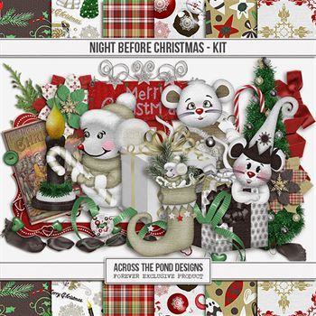 Night Before Christmas - Page Kit Digital Art - Digital Scrapbooking Kits