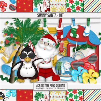 Sunny Santa - Page Kit Digital Art - Digital Scrapbooking Kits